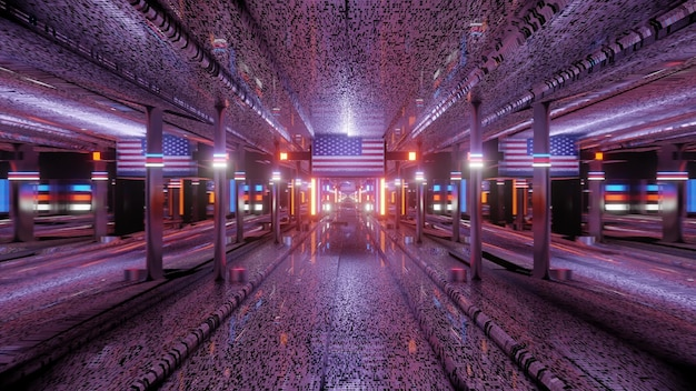 3d illustration of 4k uhd abstract background of corridor with american flag and bright neon illumination