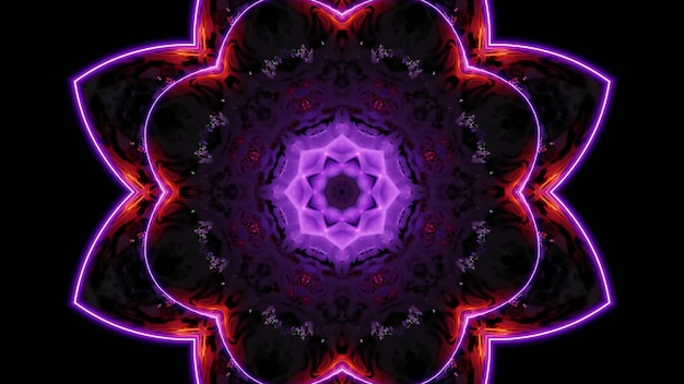 3d illustration of 4k uhd abstract background of creative endless corridor in shape of flower illuminated by red and purple neon colors