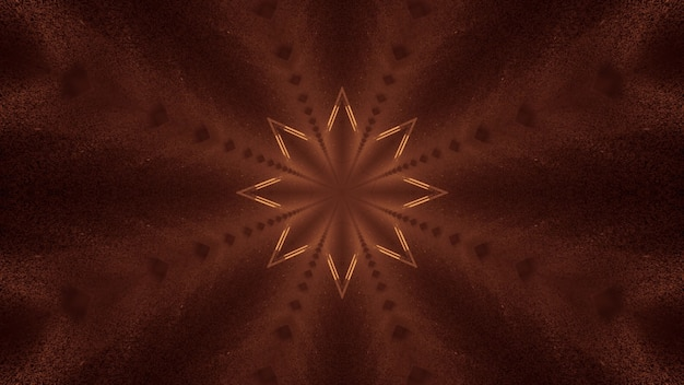 3d illustration of 4k uhd abstract background of dark corridor in shape of star with glowing sepia light