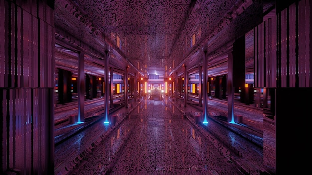 3d illustration of 4k uhd abstract background of dark corridor with american flag and bright neon lights