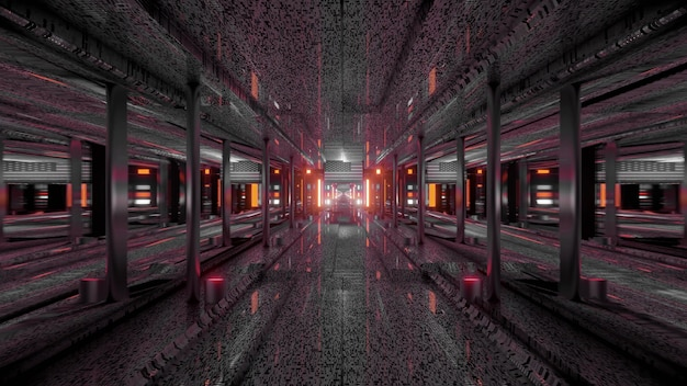 3d illustration of 4k uhd abstract background of dark futuristic tunnel with american national flag and neon lights