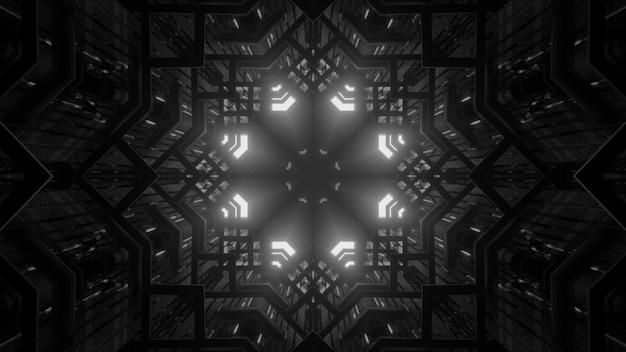 3d illustration of 4k uhd abstract background of dark kaleidoscopic corridor with white neon illumination