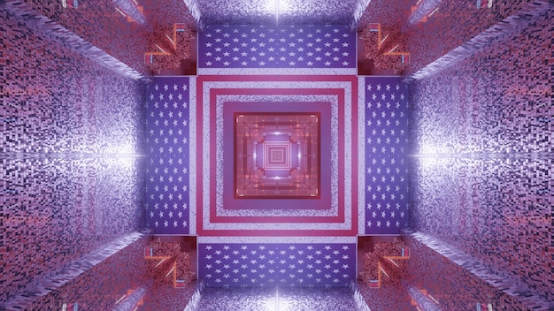 3d illustration of 4k uhd abstract background of endless corridor in shape of square designed in style of american flag
