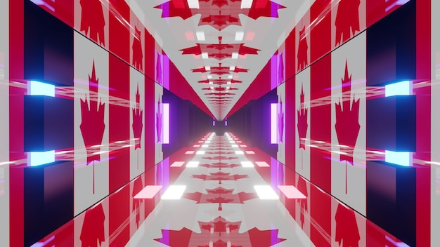 3d illustration of 4k uhd abstract background of endless corridor in style of canadian flag illuminated by blue neon color