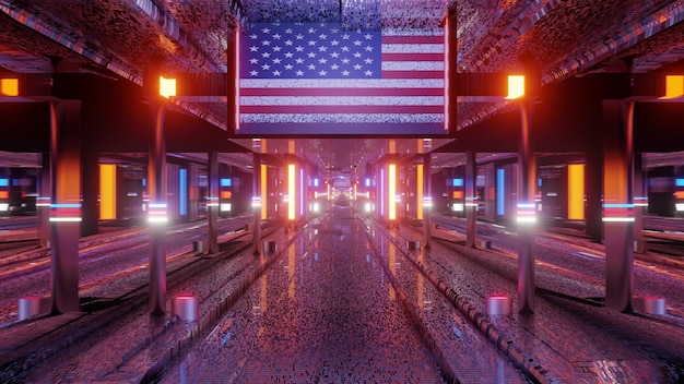 3d illustration of 4k uhd abstract background of endless corridor with american national flag and glowing neon illumination Premium Photo