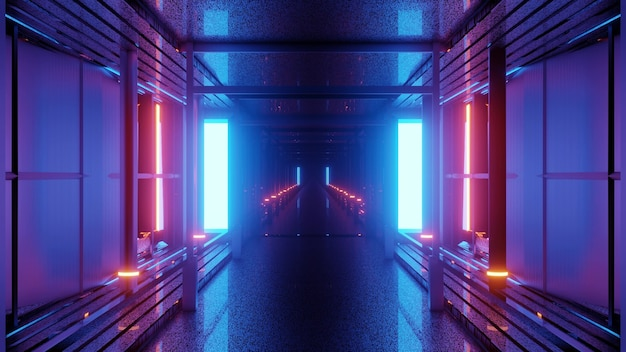 3d illustration of 4k uhd abstract background of endless corridor with blue and red neon illumination on walls