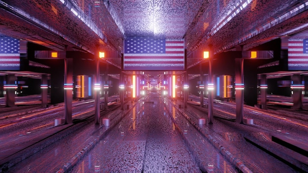 3d illustration of 4k uhd abstract background of endless glowing tunnel with neon illumination and american flag