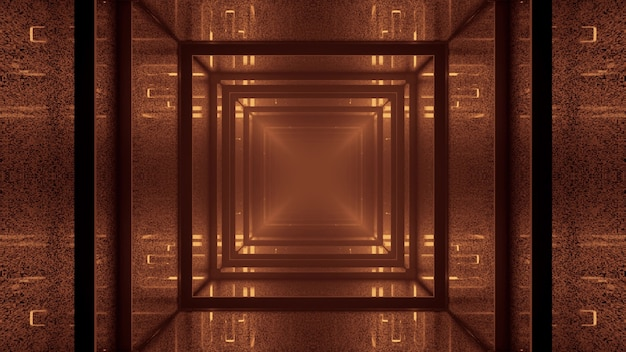 3d illustration of 4k uhd abstract background of endless tunnel in shape of square illuminated by sepia light Premium Photo
