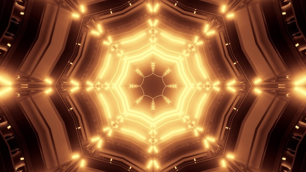 3d illustration of 4k uhd abstract background of endless tunnel with geometric shapes illuminated by bright neon light