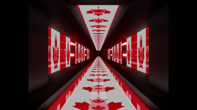 3d illustration of 4k uhd abstract background of futuristic endless corridor in style of canadian flag
