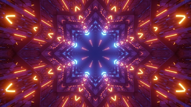 3d illustration of 4k uhd abstract background of futuristic tunnel in shape of star glowing with colorful neon illumination