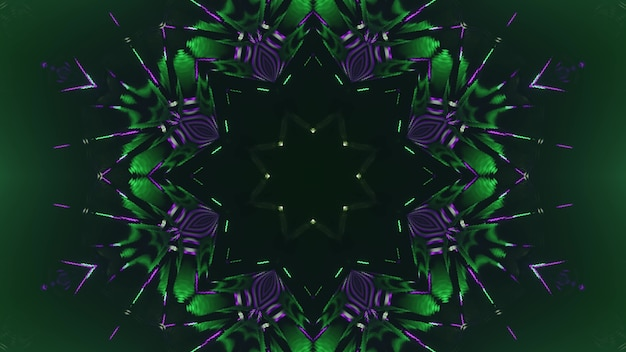 3d illustration of 4k uhd abstract background of geometric endless tunnel with kaleidoscopic ornament glowing with neon purple and green lights