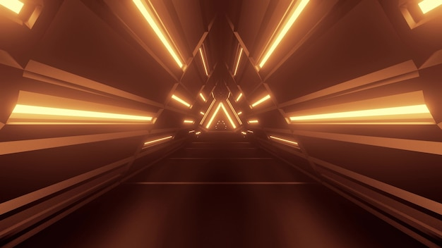 3d illustration of 4k uhd abstract background of geometric futuristic corridor glowing with sepia neon light