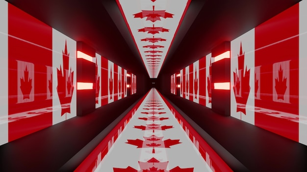 3d illustration of 4k uhd abstract background of geometric futuristic corridor in style of canadian national flag glowing with red light