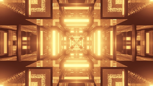 3d illustration of 4k uhd abstract background of geometric square shaped corridor with bright sepia glowing light Premium Photo