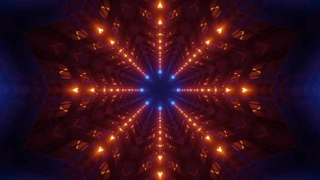 3d illustration of 4k uhd abstract background of geometrical three dimensional corridor illuminated by red and blue neon colors