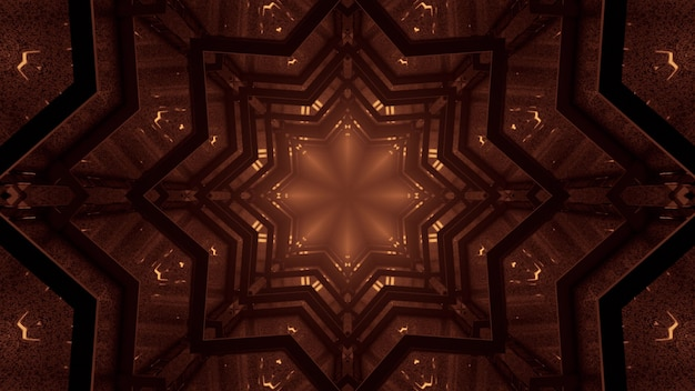3d illustration of 4k uhd abstract background of kaleidoscopic star shaped corridor glowing with sepia light