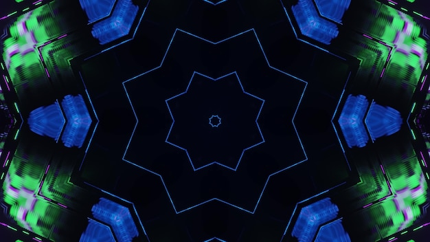 3d illustration of 4k uhd abstract background of kaleidoscopic star shaped corridor with glowing blue and green neon lights