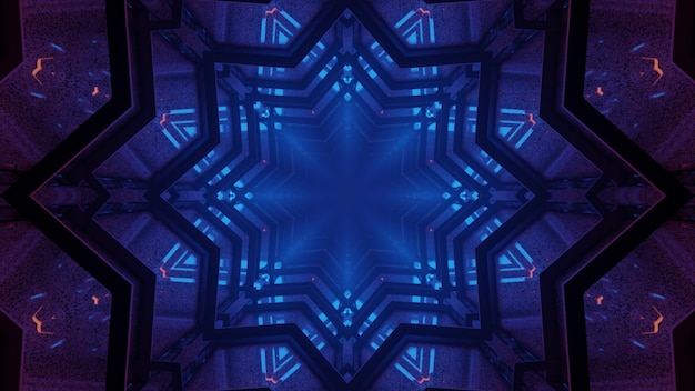 3d illustration of 4k uhd abstract background of kaleidoscopic star shaped corridor with glowing blue neon light