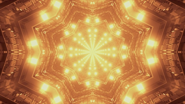 3d illustration of 4k uhd abstract background of kaleidoscopic star shaped tunnel with bright sepia neon light