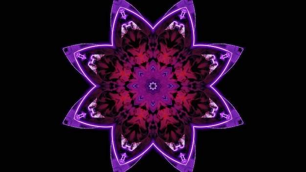 3d illustration of 4k uhd abstract background of kaleidoscopic tunnel in shape of flower glowing with neon red and violet lights