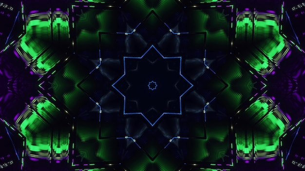 3d illustration of 4k uhd abstract background of kaleidoscopic tunnel with star shaped ornament illuminated by purple and green lights
