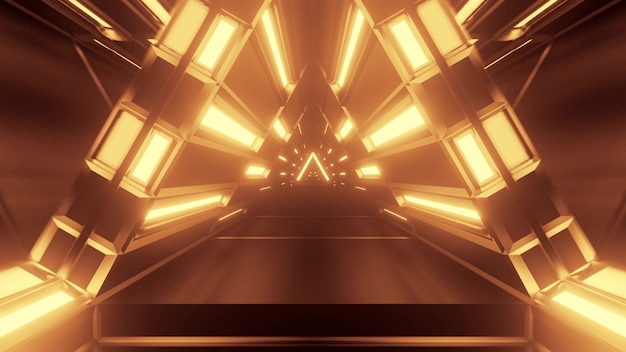 3d illustration of 4k uhd abstract background of sci fi corridor in shape of triangle glowing with sepia light