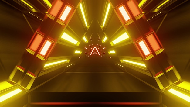 3d illustration of 4k uhd abstract background of sci fi endless corridor in shape of triangle designed in style of national german flag