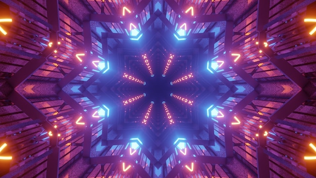 3d illustration of 4k uhd abstract background of sci fi star shaped tunnel with vibrant glowing lights