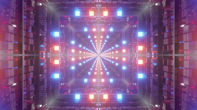 3d illustration of 4k uhd abstract background of square shaped sci fi tunnel designed in style of american flag glowing with blue and red illumination
