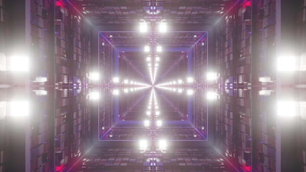 3d illustration of 4k uhd abstract background of square shaped tunnel with walls designed in style of american flag glowing with neon lights