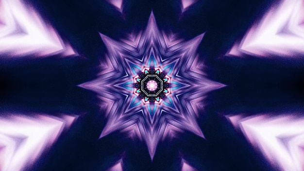 3d illustration of 4k uhd abstract background of star shaped tunnel with vibrant neon blue and purple lights