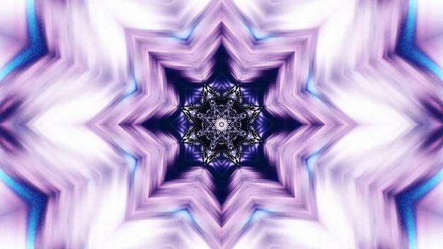 3d illustration of 4k uhd abstract background of symmetric corridor in shape of star glowing with vivid violet and blue lights