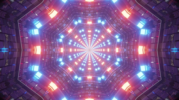 3d illustration of 4k uhd abstract background of symmetric corridor in style of american flag with walls illuminated by red and blue neon colors