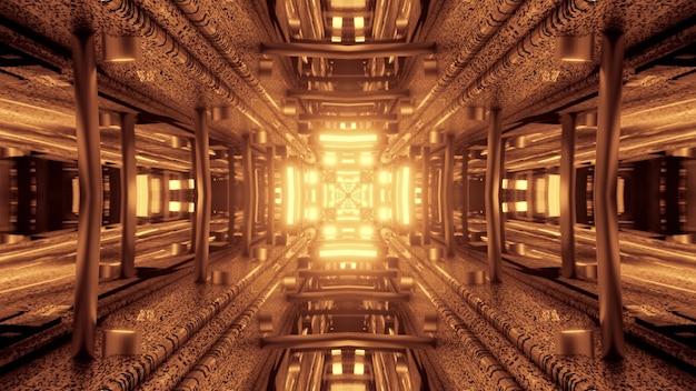 3d illustration of 4k uhd abstract background of symmetric cross shaped corridor with vivid glowing neon illumination