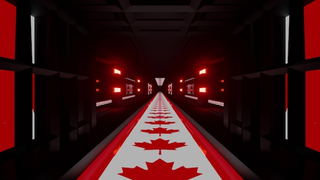 3d illustration of 4k uhd abstract background of symmetric dark tunnel designed in style of canadian national flag glowing with red neon light