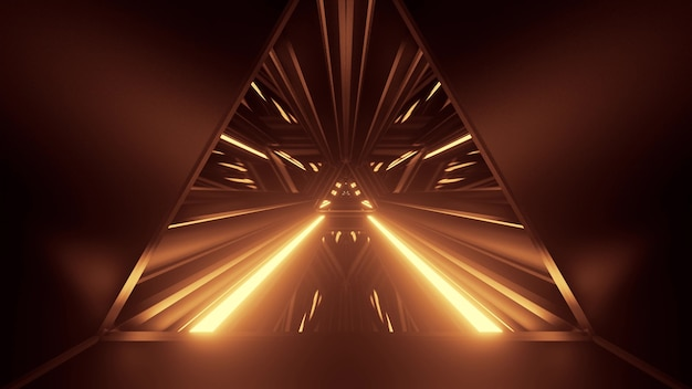 3d illustration of 4k uhd abstract background of symmetric triangle shaped corridor with glowing sepia color