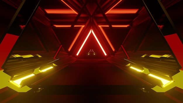 3d illustration of 4k uhd abstract background of triangle shaped tunnel in style of german flag illuminated with vivid neon lights