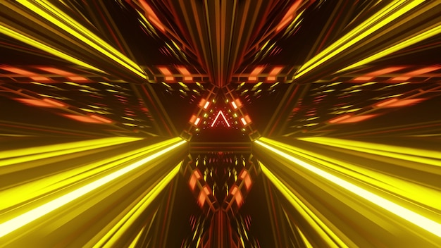 3d illustration of 4k uhd abstract background of tunnel designed in style of german national flag and glowing with bright neon colors
