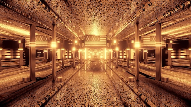 3d illustration of 4k uhd abstract background of tunnel with american flag and neon light in sepia color