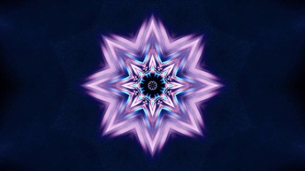3d illustration of 4k uhd abstract background of vibrant endless tunnel in shape of star with purple and blue neon illumination