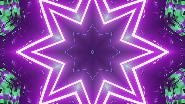 3d illustration of 4k uhd abstract background of vibrant tunnel in shape of star glowing with green and purple neon illumination
