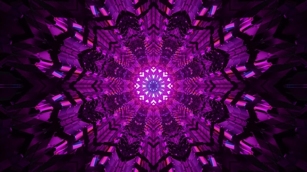 3d illustration of 4k uhd abstract futuristic tunnel with kaleidoscopic ornament glowing with bright purple light