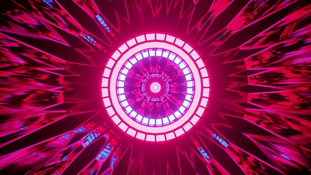 3d illustration of 4k uhd abstract pink ornament surrounding round neon lamps in futuristic tunnel