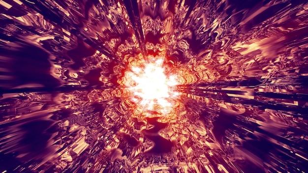 3d illustration of 4k uhd abstract tunnel illuminated with vivid flash of orange neon light