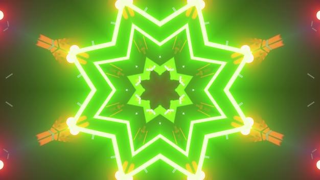 3d illustration of 4k uhd bright star shaped corridor