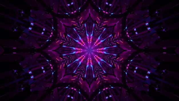 3d illustration of 4k uhd dark symmetric tunnel formed with abstract kaleidoscopic ornament