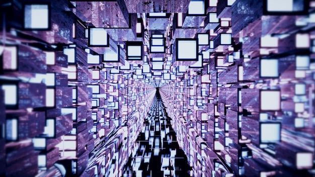 3d illustration of 4k uhd endless tunnel with purple walls