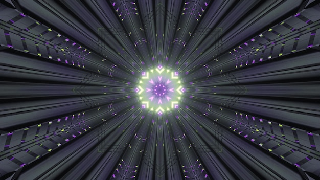 3d illustration of 4k uhd geometric ornament shining with green and purple neon lights inside gray futuristic corridor