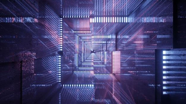 3d illustration of 4k uhd high tech geometric ornaments forming abstract sci fi corridor
